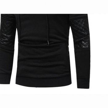 Men's Sports Casual Daily  Patchwork Stand strenchy Cotton Cotton Blend Long Sleeve  Hoodie - BLACK 3XL