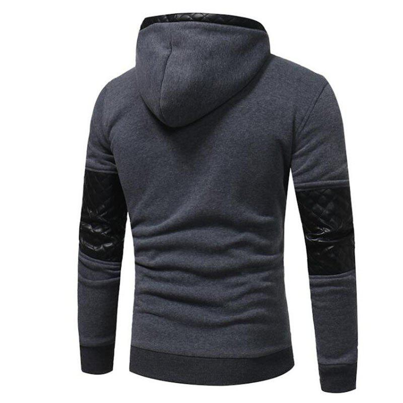 Men's Sports Casual Daily  Patchwork Stand strenchy Cotton Cotton Blend Long Sleeve  Hoodie - GRAY 3XL