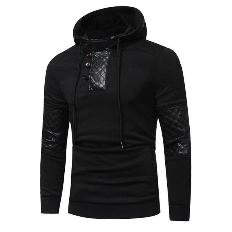 Men's Sports Casual Daily  Patchwork Stand strenchy Cotton Cotton Blend Long Sleeve  Hoodie - BLACK L