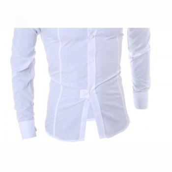 Men's Long Sleeve Shirt Cotton Blend Casual Plaids - WHITE WHITE