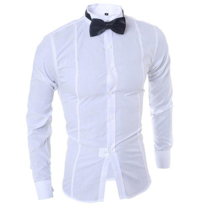 Men's Long Sleeve Shirt Cotton Blend Casual Plaids - WHITE M