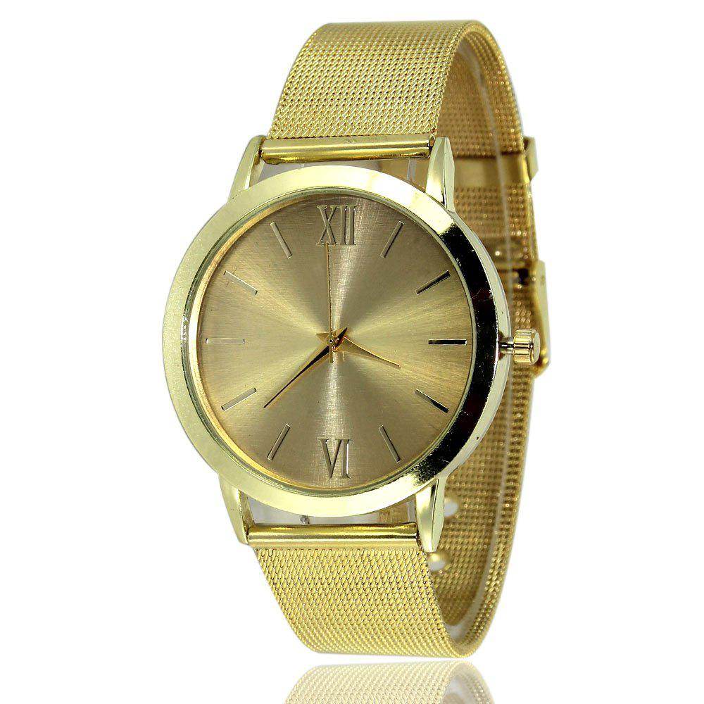 New Fashion Watch Golden Mesh Business Casual Men and Women Watch + Gift Box - GOLDEN