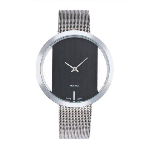 New Personality Fashion Watch Simple Style Neutral Watch on Both Sides of The Transparent Silver Mesh + Gift Box - BLACK