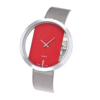 New Personality Fashion Watch Simple Style Neutral Watch on Both Sides of The Transparent Silver Mesh + Gift Box - RED