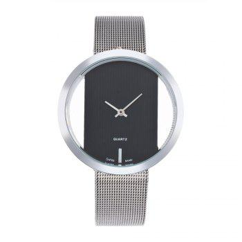 New Personality Fashion Watch Simple Style Neutral Watch on Both Sides of The Transparent Silver Mesh + Gift Box - BLACK BLACK