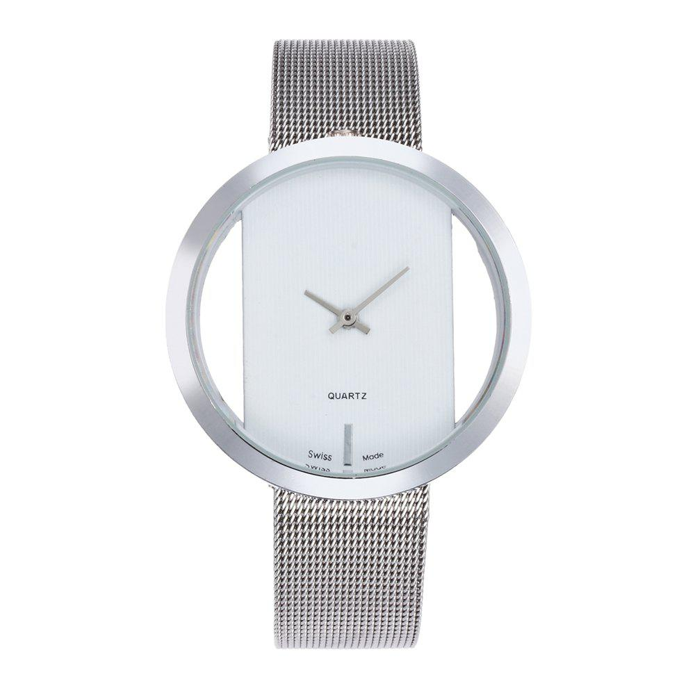 New Personality Fashion Watch Simple Style Neutral Watch on Both Sides of The Transparent Silver Mesh + Gift Box - WHITE