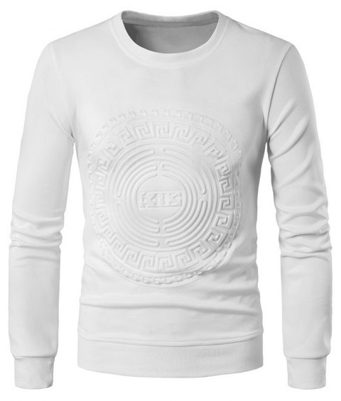 2018 Spring and Summer Turtleneck Totem Long Sleeved T-Shirt - WHITE 2XL