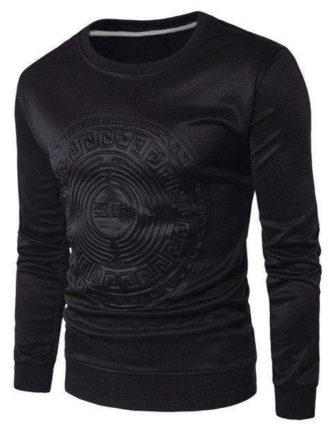 2018 Spring and Summer Turtleneck Totem Long Sleeved T-Shirt - BLACK XL