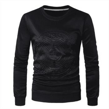 2018 Spring and Summer Turtleneck Totem Long Sleeved T-Shirt - BLACK BLACK