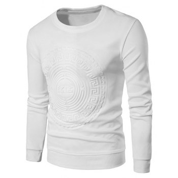 2018 Spring and Summer Turtleneck Totem Long Sleeved T-Shirt - WHITE 3XL