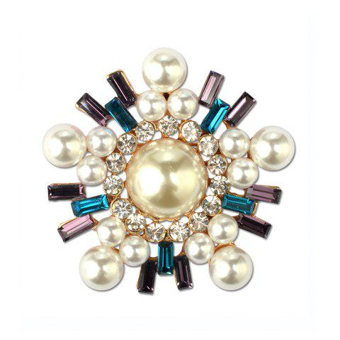 Snowflake Silver Plated Brooch Rhinestone and Imitation Pearls Brooches For Female Pins Lapel Pin Women - COLORFUL