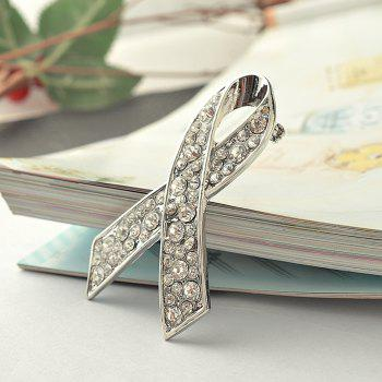 Ribbon Crystal Brooch Rhinestone for Women Dress Scarf Brooch Pins Jewelry Accessories - SILVER