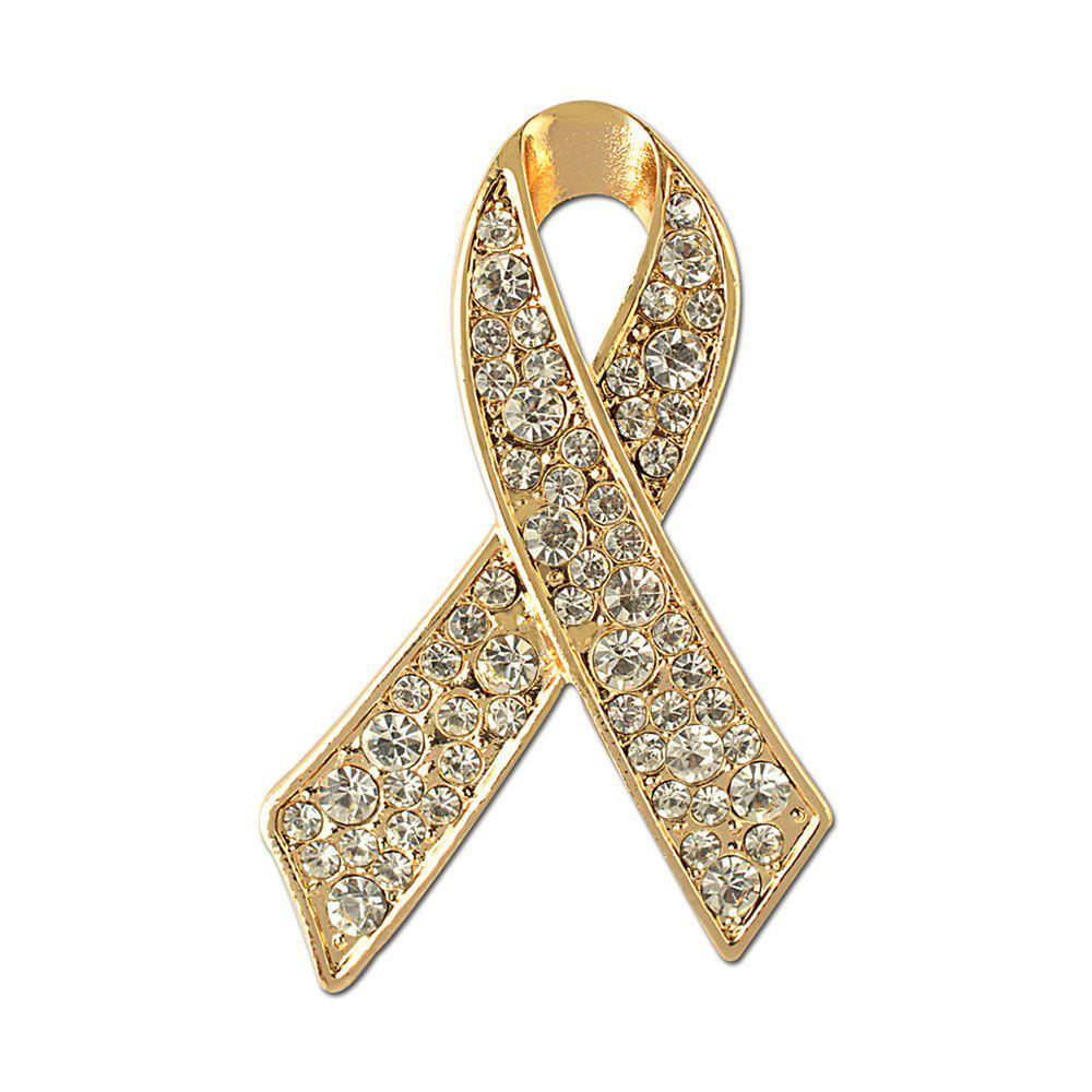 Ribbon Crystal Brooch Rhinestone for Women Dress Scarf Brooch Pins Jewelry Accessories - GOLDEN