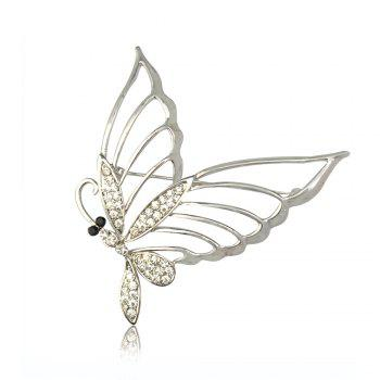 Fashionable Rhinestone Butterfly Brooch Pin - SILVER SILVER