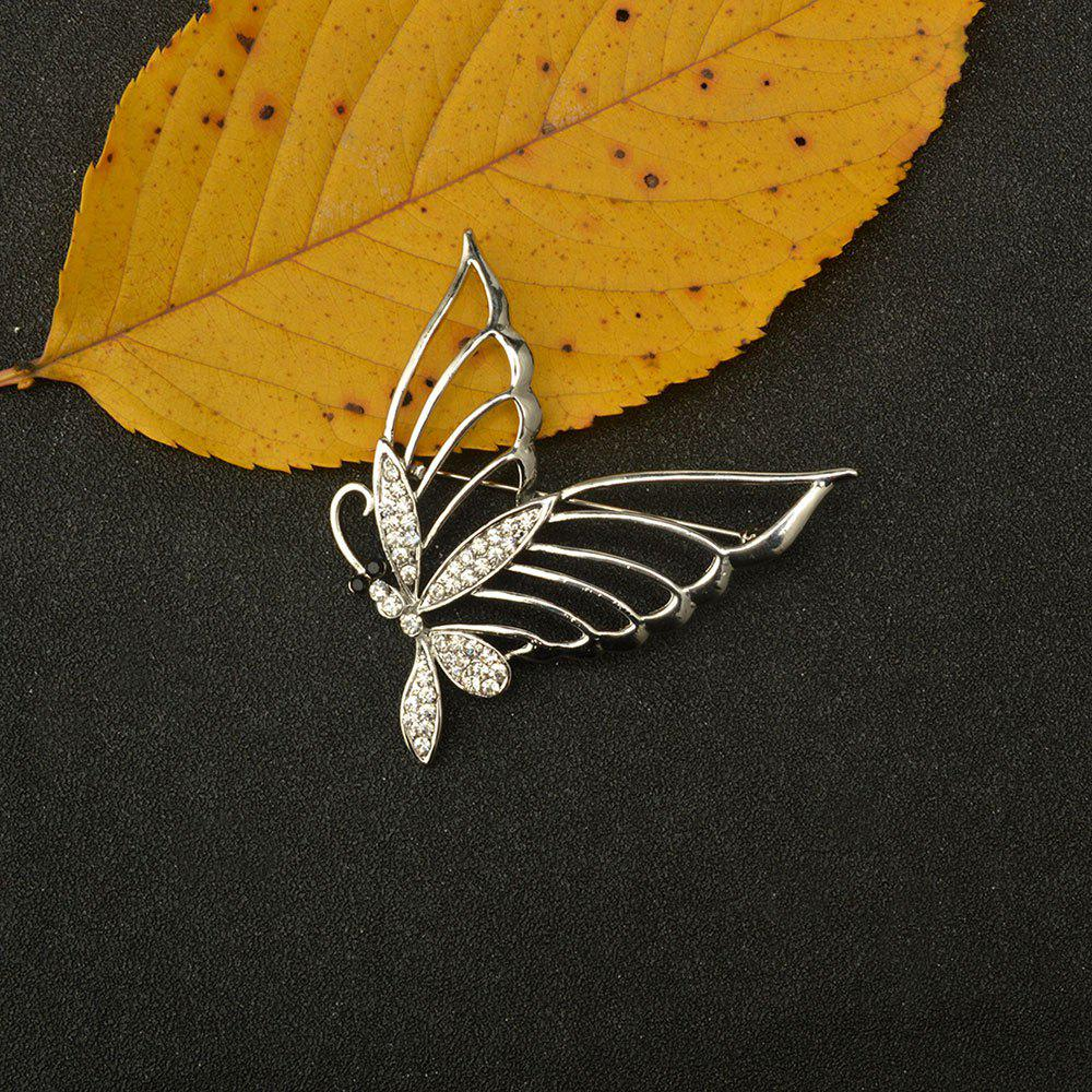 Fashionable Rhinestone Butterfly Brooch Pin - SILVER