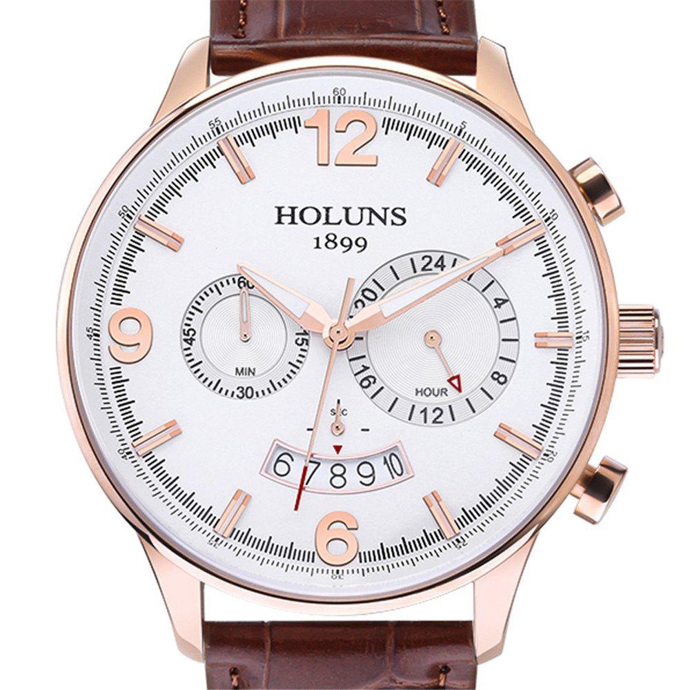 HOLUNS 1178 Leisure Sports Fashion Trend Belt, A Multi Functional Waterproof Belt Men Quartz Watch - ROSE GOLD/WHITE