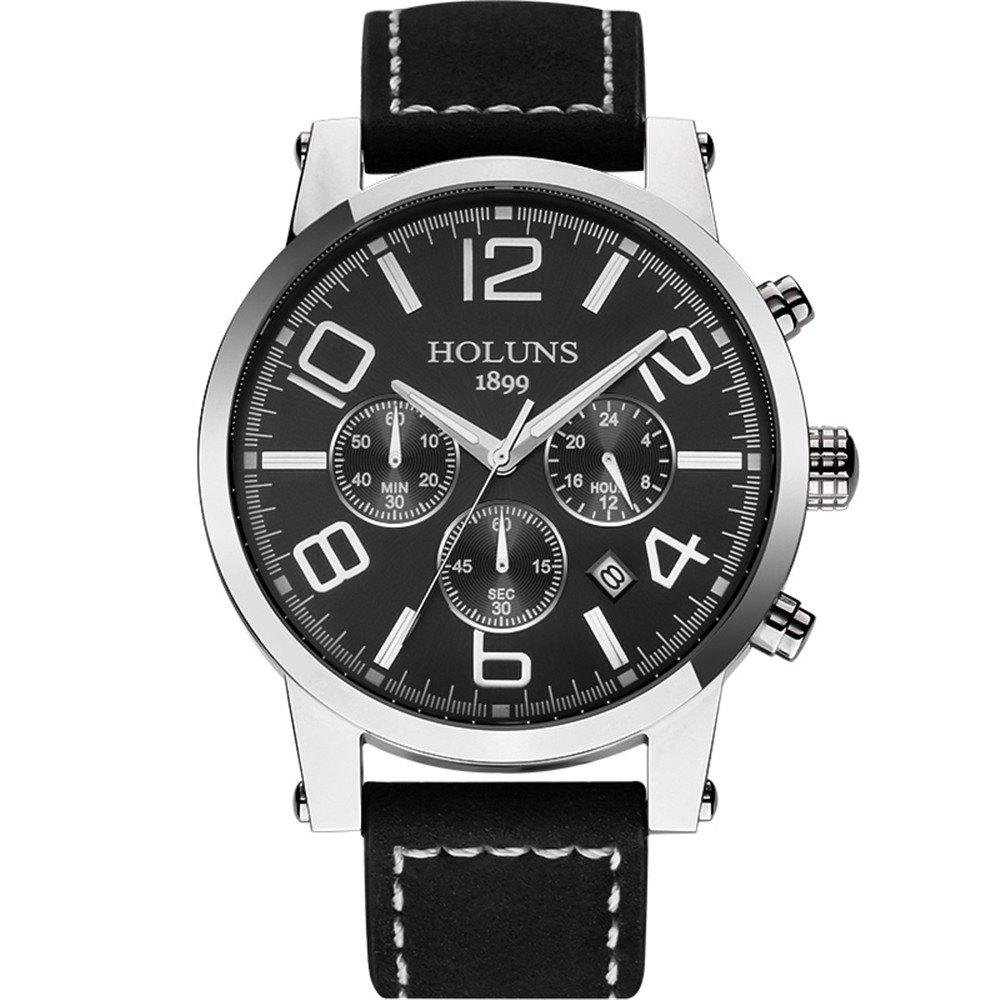 HOLUNS 1179 Multi Functional Waterproof Belt for Men Quartz Watch - BLACK BAND BLACK DIAL SILVER CASE