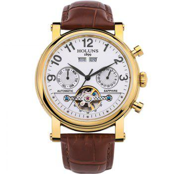 HOLUNS 1180 Business Casual Fashion Multi-Functional Belt Calendar Belt Men Automatic Mechanical Watch - BROWN BAND WHITE DIAL GOLDEN CASE BROWN BAND WHITE DIAL GOLDEN CASE