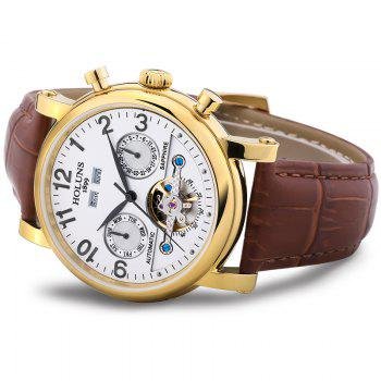 HOLUNS 1180 Business Casual Fashion Multi-Functional Belt Calendar Belt Men Automatic Mechanical Watch - BROWN BAND WHITE DIAL GOLDEN CASE