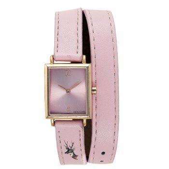 HOLUNS 1173 Fashion Trend Square Dial with Two Stitches of Lady Quartz Watch - PINK PINK