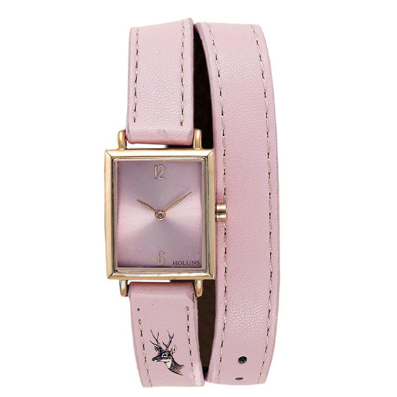 HOLUNS 1173 Fashion Trend Square Dial with Two Stitches of Lady Quartz Watch - PINK
