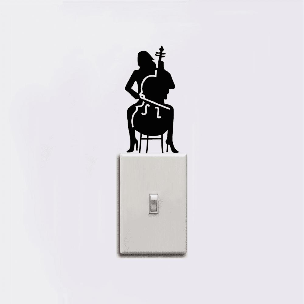 Cello Player Light Switch Sticker Girl Playing Cello Silhouette Vinyl Wall Decor - BLACK 12 X 5.9 CM