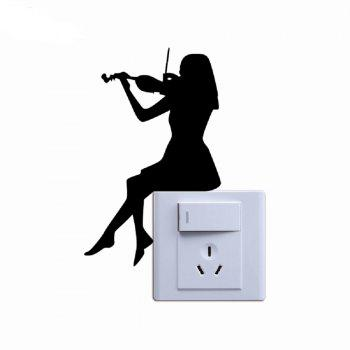 Violin Switch Sticker Classical Music Wall Art Woman Playing Violin Silhouette Wall Decal - BLACK BLACK