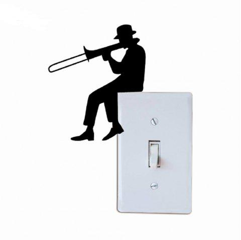 Man Playing Trombone Silhouette Light Switch Sticker Music Vinyl Wall Sticker - BLACK 12 X 10 CM