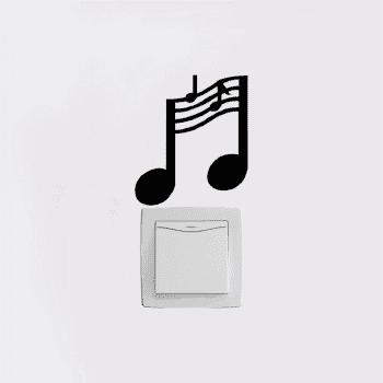 Music Notes Switch Sticker Music Room Vinyl Wall Stickers for Bedroom Home Decor - BLACK BLACK