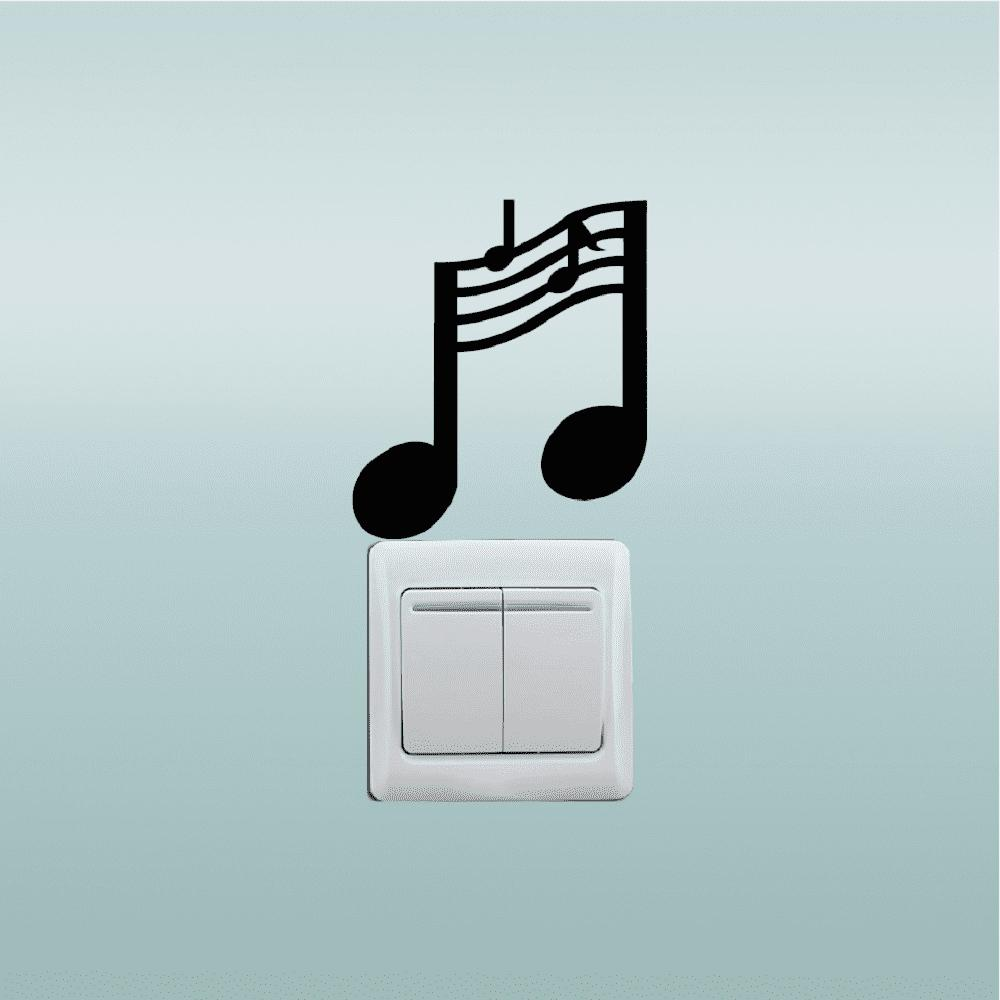 Music Notes Switch Sticker Music Room Vinyl Wall Stickers for Bedroom Home Decor - BLACK 11.5 X 10 CM