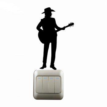 Western Style  Man Playing Guitar Silhouette Switch Sticker Country Music Decal - BLACK BLACK