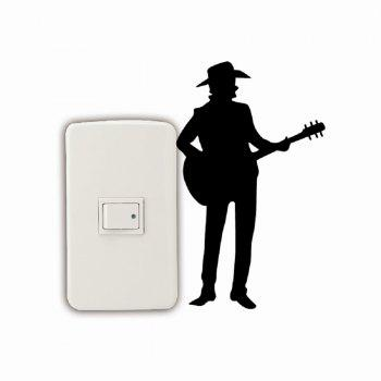 Homme de style occidental jouant la guitare Silhouette Switch Sticker Country Music Decal - Noir 16.5 X 10 CM