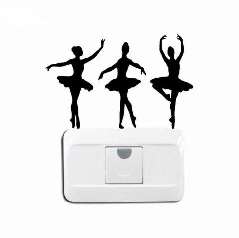 Ballerinas Silhouette Vinyl Light Switch Sticker Ballet Dancer Wall Decal - BLACK 10 X 15 CM