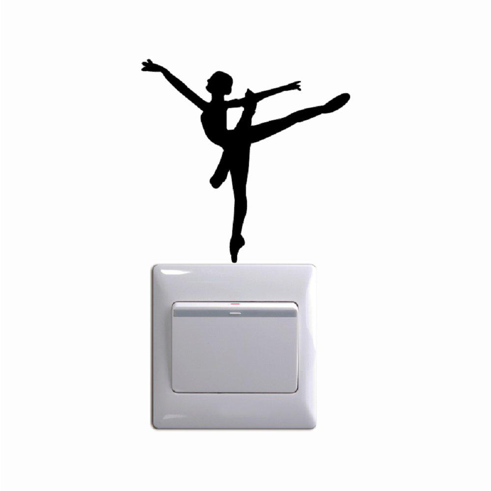 Ballet Dancer Vinyl Switch Sticker Cartoon Silhouette Wall Sticker Home Decor - BLACK 10 X 10 CM