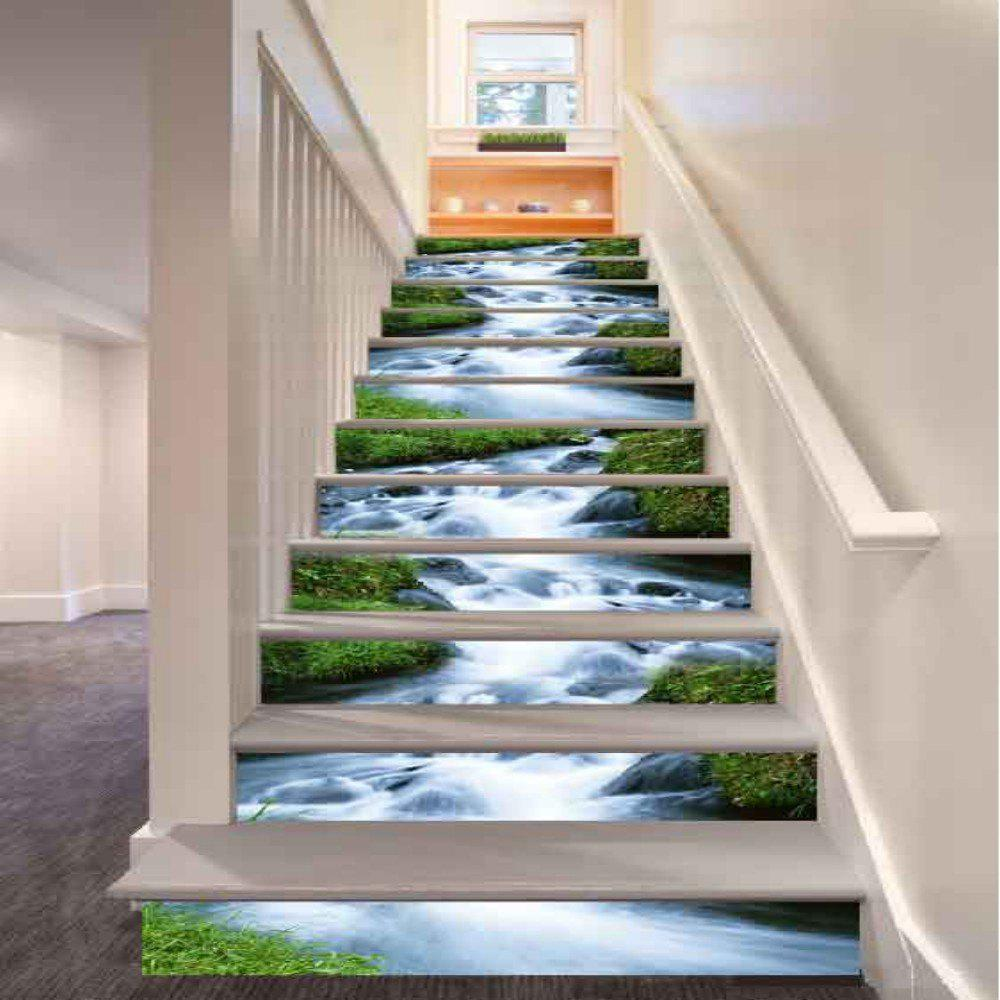 Rush of Water Pattern Style Stair Sticker Wall Decor LTT033 moon forest stair sticker wall decor