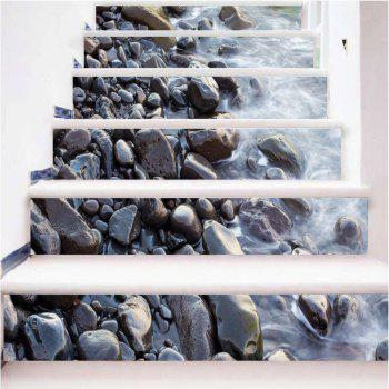 Gravel Pattern By The River Pattern Style Stair Sticker Wall Decor LTT034 - MIX COLOR MIX COLOR