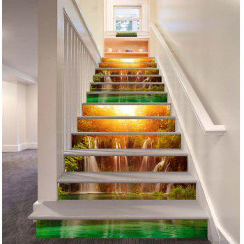 Sunshine Lake Waterfall Pattern Style Stair Sticker Wall Decor LTT035 - MIX COLOR MIX COLOR