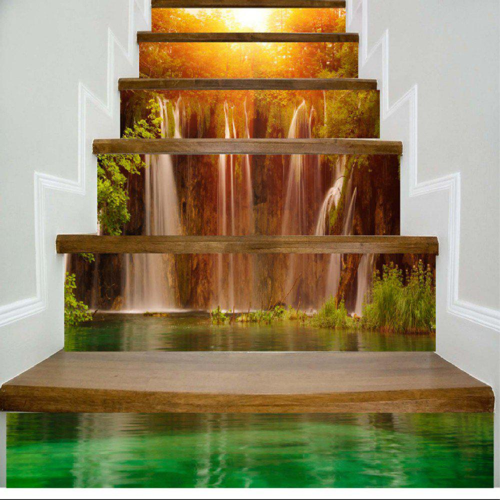 Sunshine Lake Waterfall Pattern Style Stair Sticker Wall Decor LTT035 - MIX COLOR 18CM X 100CM X 6 PIECES