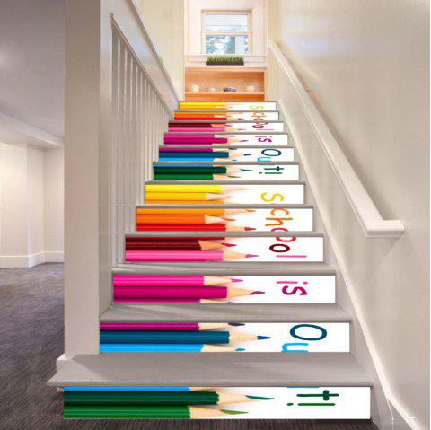 School Is Out Color Crayons Pattern Style Stair Sticker Wall Decor LTT036 - MIX COLOR 18CM X 100CM X 6 PIECES