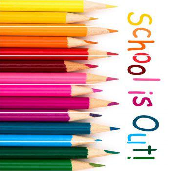 School Is Out Color Crayons Pattern Style Stair Sticker Wall Decor LTT036 - MIX COLOR MIX COLOR