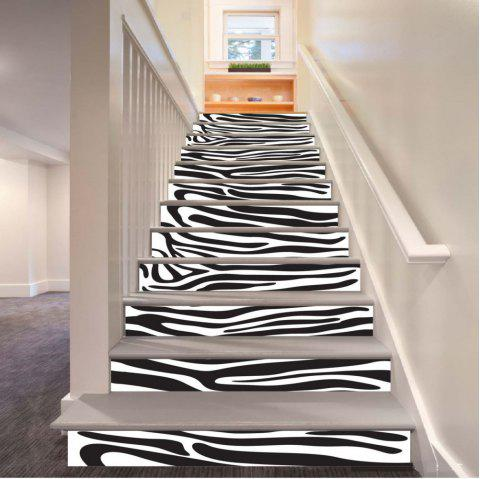 Stripe Pattern Style Stair Sticker Wall Decor LTT037 - WHITE/BLACK 18CM X 100CM X 6 PIECES