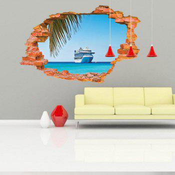 Sailing Boat on the Sea Wall Sticker Sea Water Scenery Wall Decals Home Decor - MIXED COLOR 60 X 90 CM