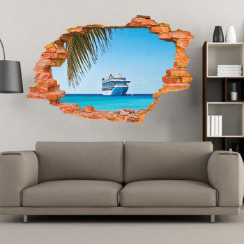 Sailing Boat on the Sea Wall Sticker Sea Water Scenery Wall Decals Home Decor - MIXED COLOR MIXED COLOR