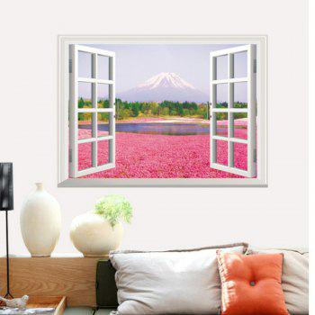 3D Pink Flowers Full Color Wall Sticker Fake Window Scenery View Wall Decals Home Decor - MIXED COLOR 60 X 90 CM