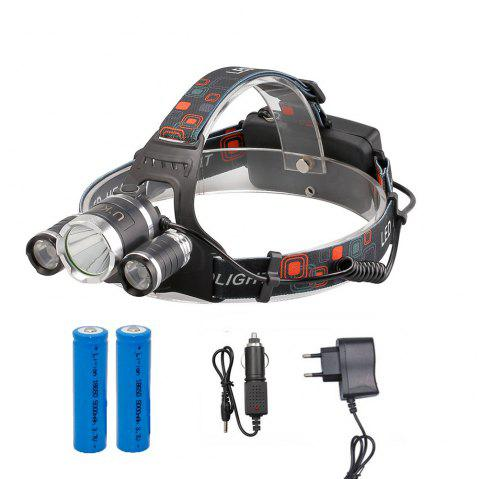 U'King ZQ-X807 1600LM 3 LEDs 4 Mode Portable Headlamp with Chargers and Batteries - BLACK EU CHARGER