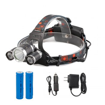 U'King ZQ-X807 1600LM 3 LEDs 4 Mode Portable Headlamp with Chargers and Batteries - BLACK BLACK