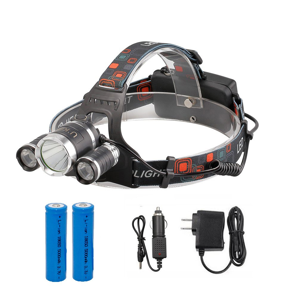 U'King ZQ-X807 1600LM 3 LEDs 4 Mode Portable Headlamp with Chargers and Batteries - BLACK US CHARGER