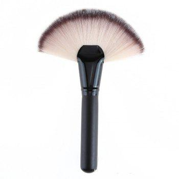 1 Piece BB Cream Powder Blush Blending Brush Highlighter Brush Contour Face Fan Shape Beauty - BLACK BLACK