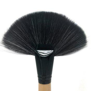 1 Piece BB Cream Powder Blush Blending Brush Highlighter Brush Contour Face Fan Shape Beauty - ORIGINAL WOOD COLOR