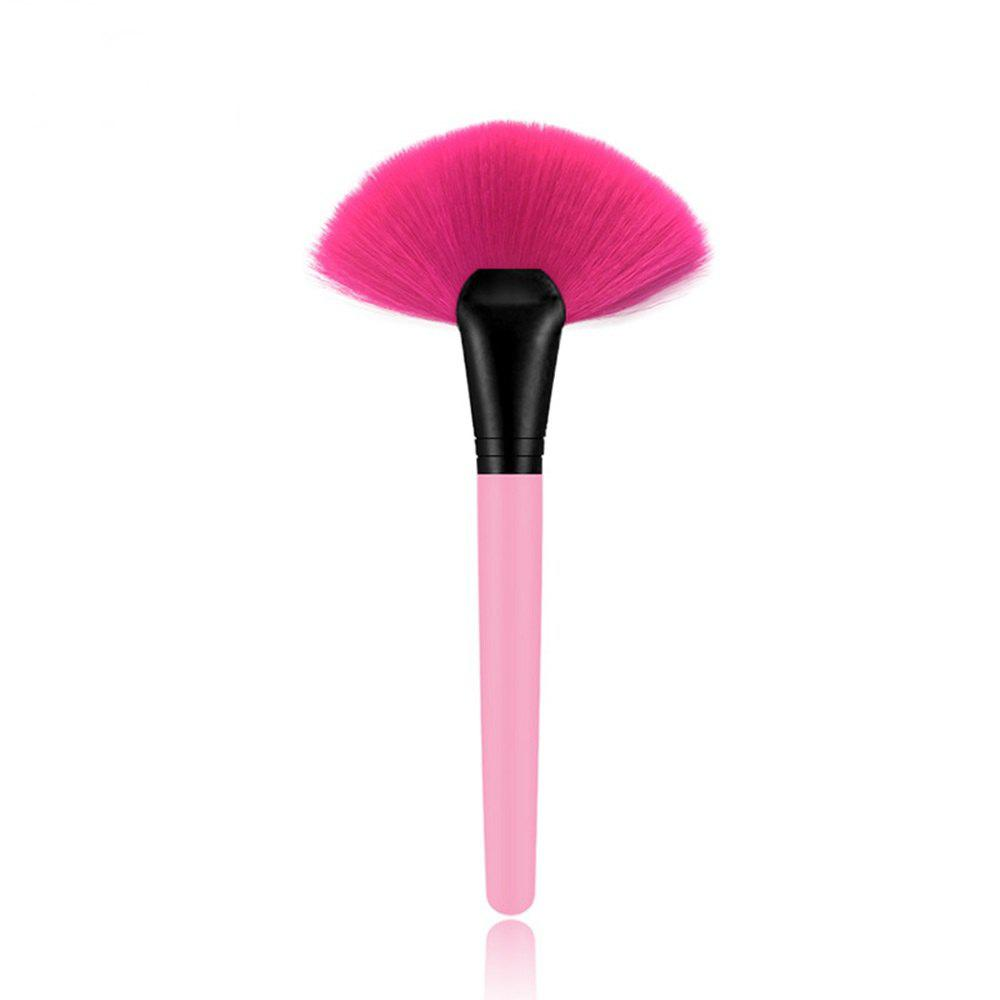 1 Piece BB Cream Powder Blush Blending Brush Highlighter Brush Contour Face Fan Shape Beauty - PINK